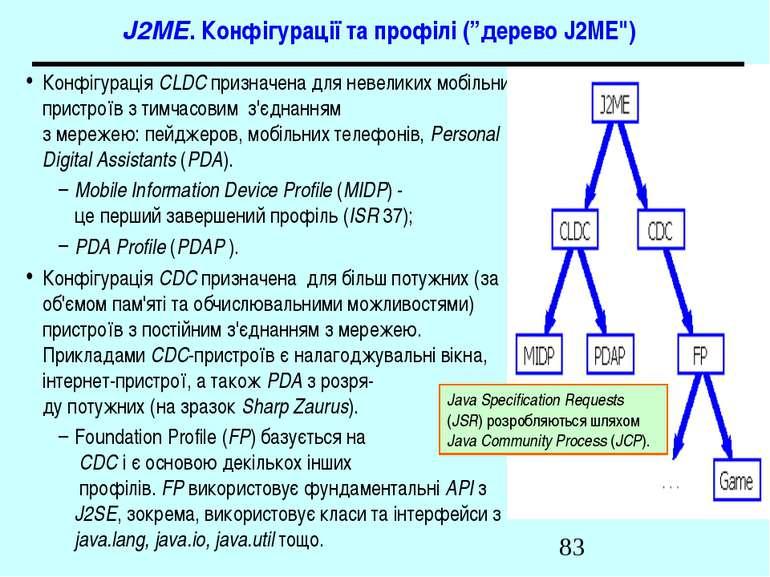 """J2ME. Конфігурації та профілі (""""дерево J2ME"""") Конфігурація CLDC призначена дл..."""