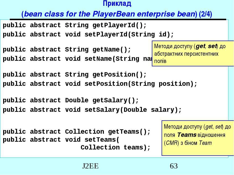 Приклад (bean class for the PlayerBean enterprise bean) (2/4) public abstract...