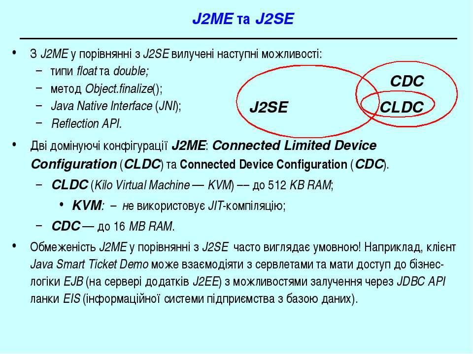 J2ME та J2SE З J2ME у порівнянні з J2SE вилучені наступні можливості: типи fl...