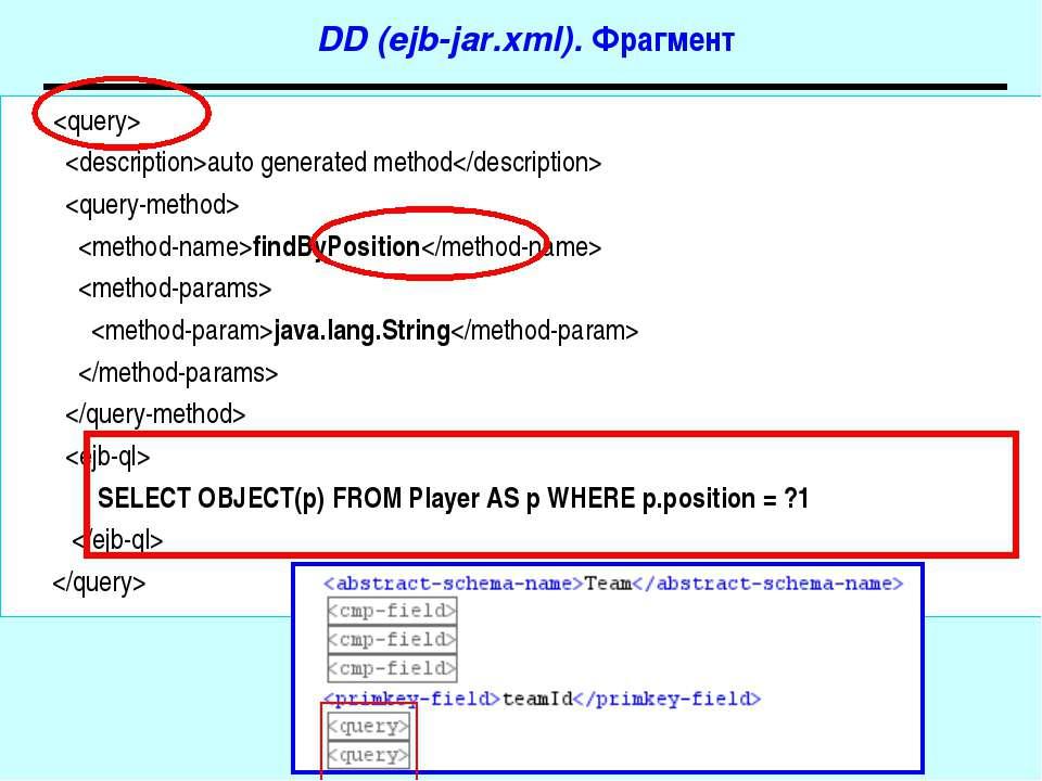DD (ejb-jar.xml). Фрагмент auto generated method findByPosition java.lang.Str...