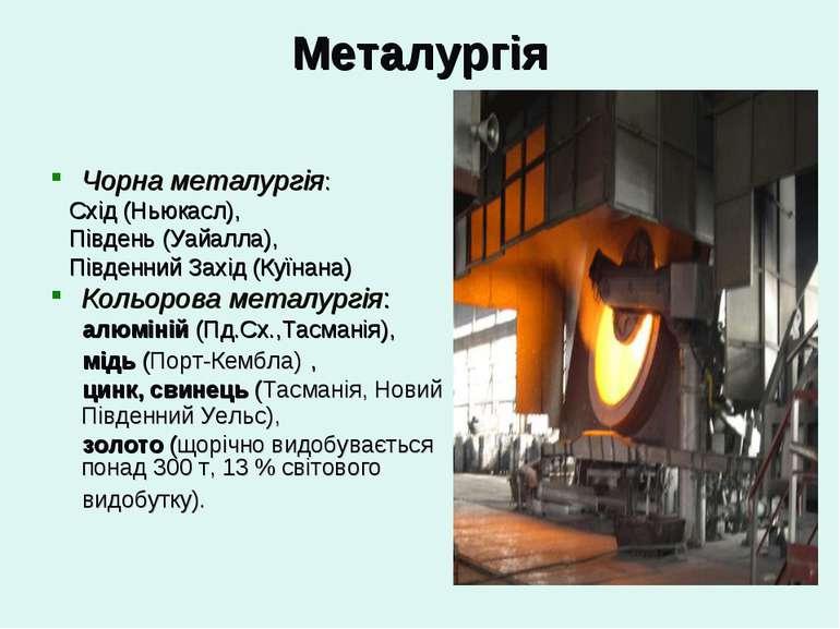 Металургія Чорна металургія: Схід (Ньюкасл), Південь (Уайалла), Південний Зах...