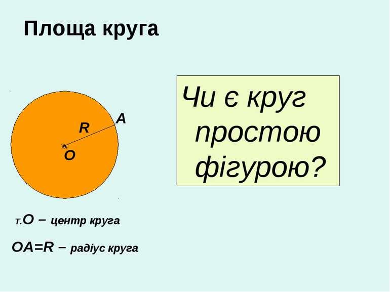 Площа круга Чи є круг простою фігурою? О R Т.О – центр круга ОА=R – радіус кр...