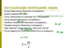 Актуалізація необхідних знань Площу прямокутника обчислюють за формулою… Один...