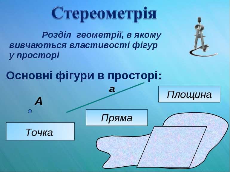 Розділ геометрії, в якому вивчаються властивості фігур у просторі Основні фіг...