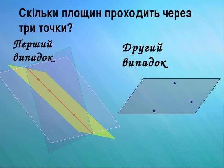 Скільки площин проходить через три точки? Перший випадок Другий випадок