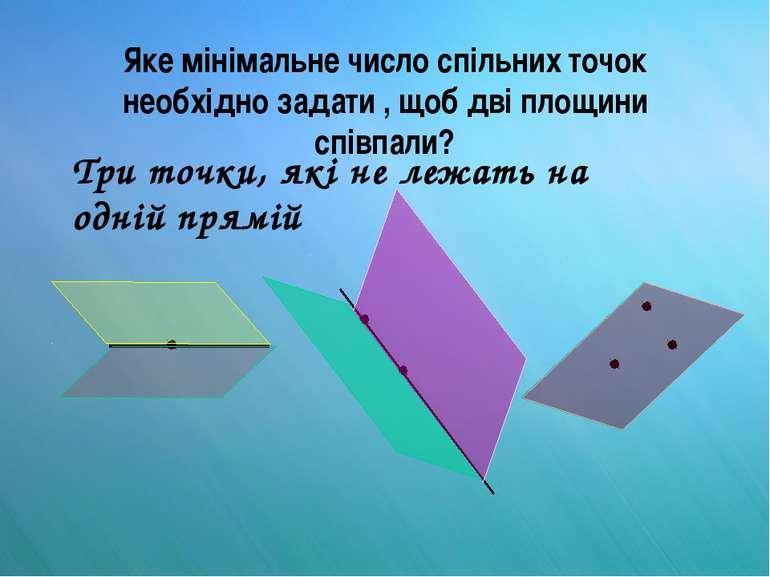 Яке мінімальне число спільних точок необхідно задати , щоб дві площини співпа...