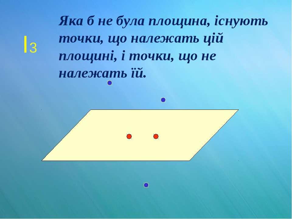 I3 Яка б не була площина, існують точки, що належать цій площині, і точки, що...