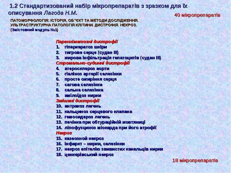 1.2 Стандартизований набір мікропрепаратів з зразком для їх описування Лагода...