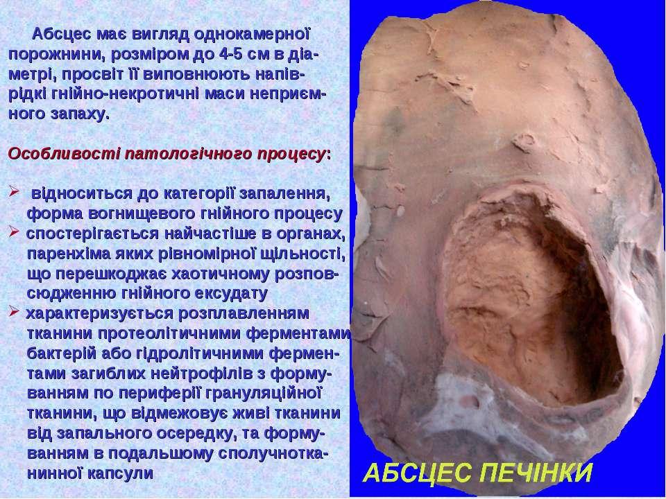 Абсцес має вигляд однокамерної порожнини, розміром до 4-5 см в діа- метрі, пр...