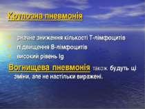 Крупозна пневмонія значне зниження кількості Т-лімфоцитів підвищення В-лімфоц...