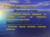 Стадія розрішення Загальний огляд положення хворого вимушене на здоровій стор...