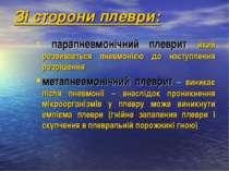 Зі сторони плеври: парапневмонічний плеврит, який розвивається пневмонією до ...