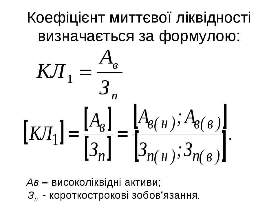 Коефіцієнт миттєвої ліквідності визначається за формулою: Ав – високоліквідні...