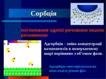 Сорбція поглинання однієї речовини іншою речовиною Адсорбція - зміна концентр...