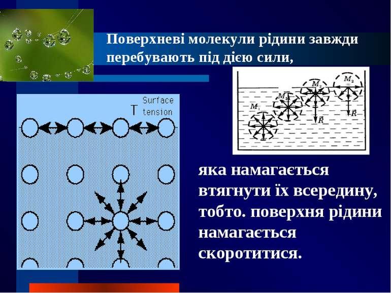 Поверхневі молекули рідини завжди перебувають під дією сили, яка намагається ...
