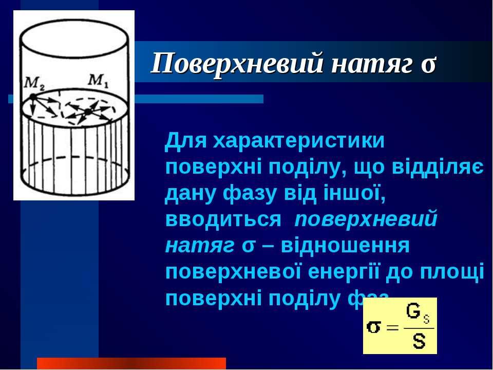 Поверхневий натяг σ Для характеристики поверхні поділу, що відділяє дану фазу...