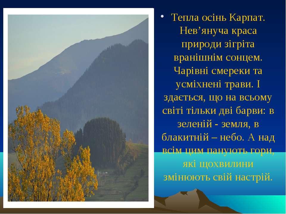 Тепла осінь Карпат. Нев'януча краса природи зігріта вранішнім сонцем. Чарівні...
