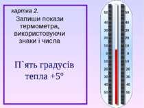 Запиши покази термометра, використовуючи знаки і числа картка 2. П`ять градус...