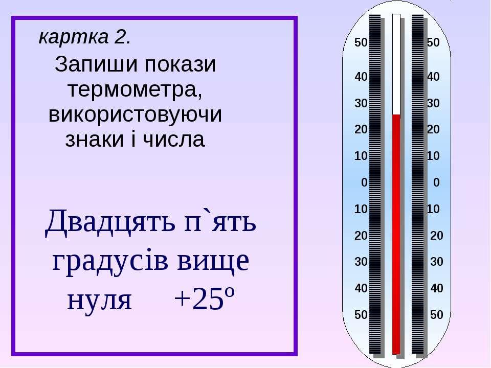 Запиши покази термометра, використовуючи знаки і числа картка 2. Двадцять п`я...