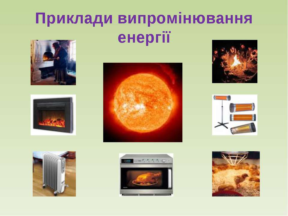 Приклади випромінювання енергії
