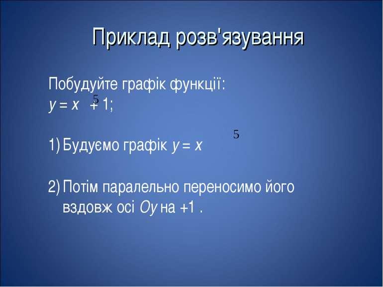 Приклад розв'язування Побудуйте графік функції: у = х + 1; Будуємо графік у =...