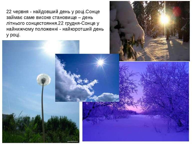 Цимбалюк М.В. 22 червня - найдовший день у році.Сонце займає саме високе стан...