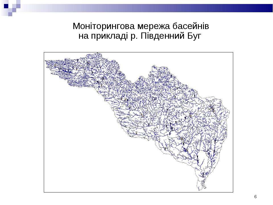 * Моніторингова мережа басейнів на прикладі р. Південний Буг
