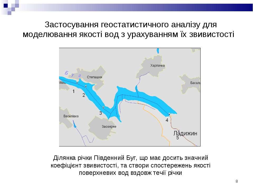 * Ділянка річки Південний Буг, що має досить значний коефіцієнт звивистості, ...