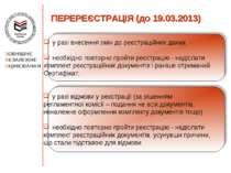 ПЕРЕРЕЄСТРАЦІЯ (до 19.03.2013) у разі відмови у реєстрації (за рішенням регла...
