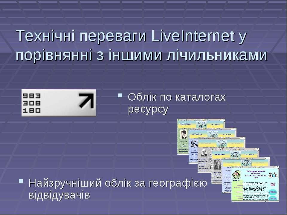Технічні переваги LiveInternet у порівнянні з іншими лічильниками Найзручніши...
