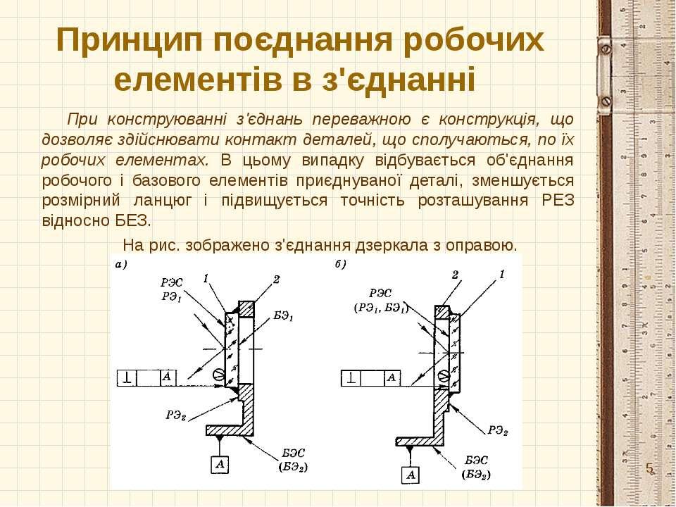 Принцип поєднання робочих елементів в з'єднанні При конструюванні з'єднань пе...