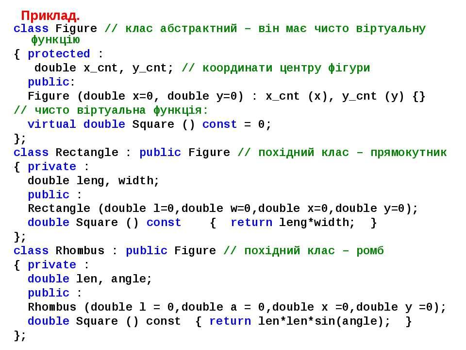 Приклад. class Figure // клас абстрактний – він має чисто віртуальну функцію ...