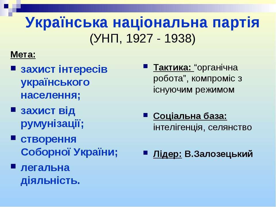 Українська національна партія (УНП, 1927 - 1938) Мета: захист інтересів украї...