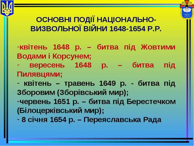 ОСНОВНІ ПОДІЇ НАЦІОНАЛЬНО-ВИЗВОЛЬНОЇ ВІЙНИ 1648-1654 Р.Р. квітень 1648 р. – б...