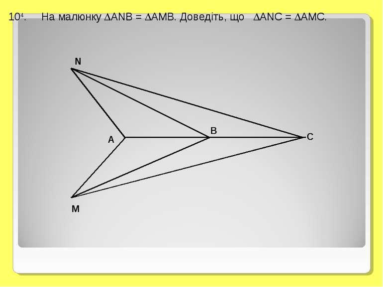 104. На малюнку ANB = AMB. Доведіть, що ANC = AMC.