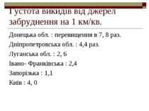 Густота викидів від джерел забруднення на 1 км/кв. Донецька обл. : перевищенн...