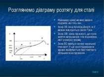 Розглянемо діаграму розтягу для сталі Наведену криву можна умовно поділити на...