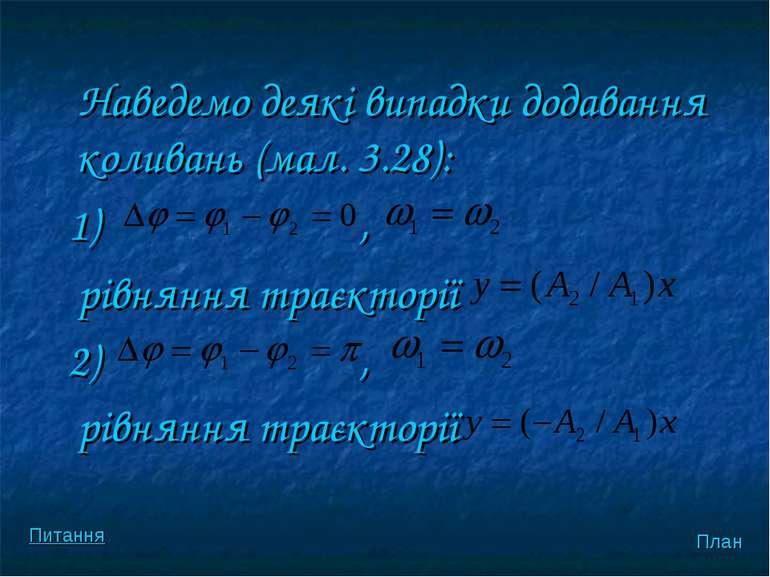Наведемо деякi випадки додавання коливань (мал. 3.28): 1) , рiвняння траєктор...