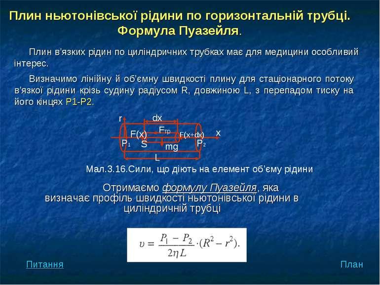 Отримаємо формулу Пуазейля, яка визначає профіль швидкості ньютонівської ріди...
