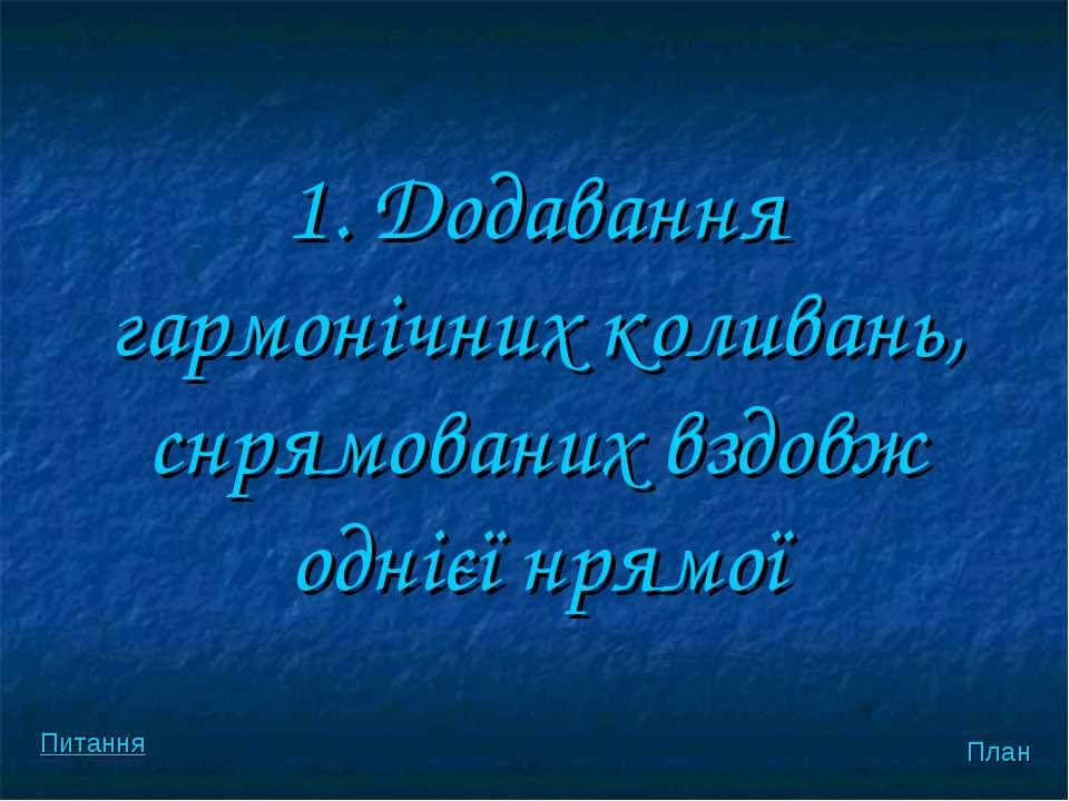 1. Додавання гармонiчних коливань, снрямованих вздовж однієї нрямої План Питання