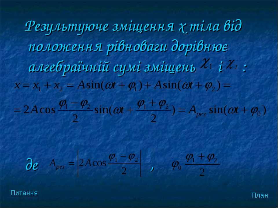 Результуюче змiщення х тiла вiд положення рiвноваги дорiвнює алгебраїчнiй сум...