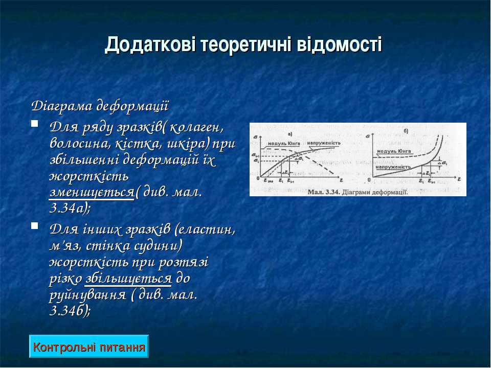 Додаткові теоретичні відомості Діаграма деформації Для ряду зразків( колаген,...