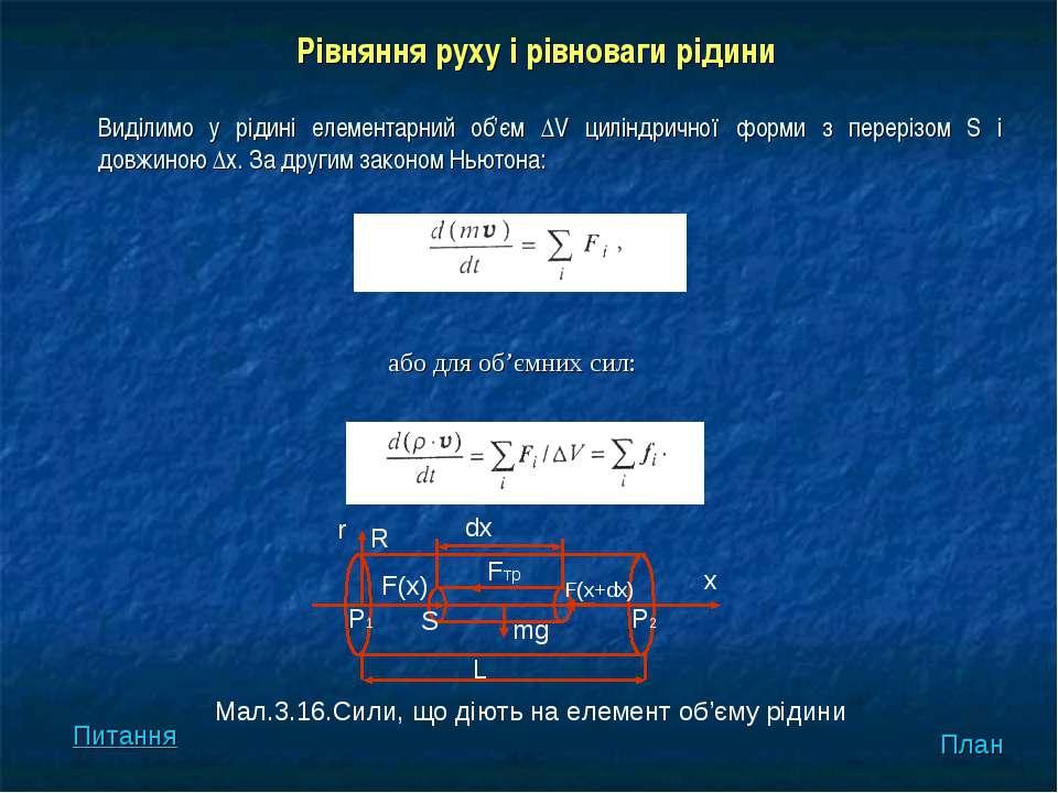 або для об'ємних сил: Виділимо у рідині елементарний об'єм ΔV циліндричної фо...