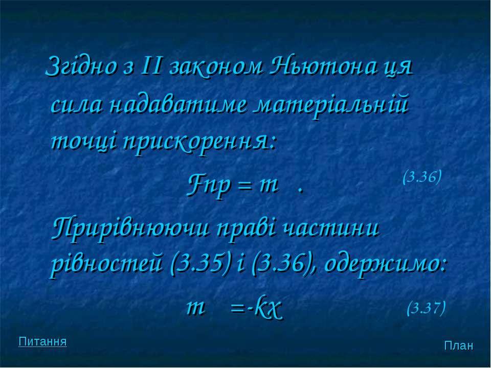 Згiдно з II законом Ньютона ця сила надаватиме матерiальнiй точцi прискорення...
