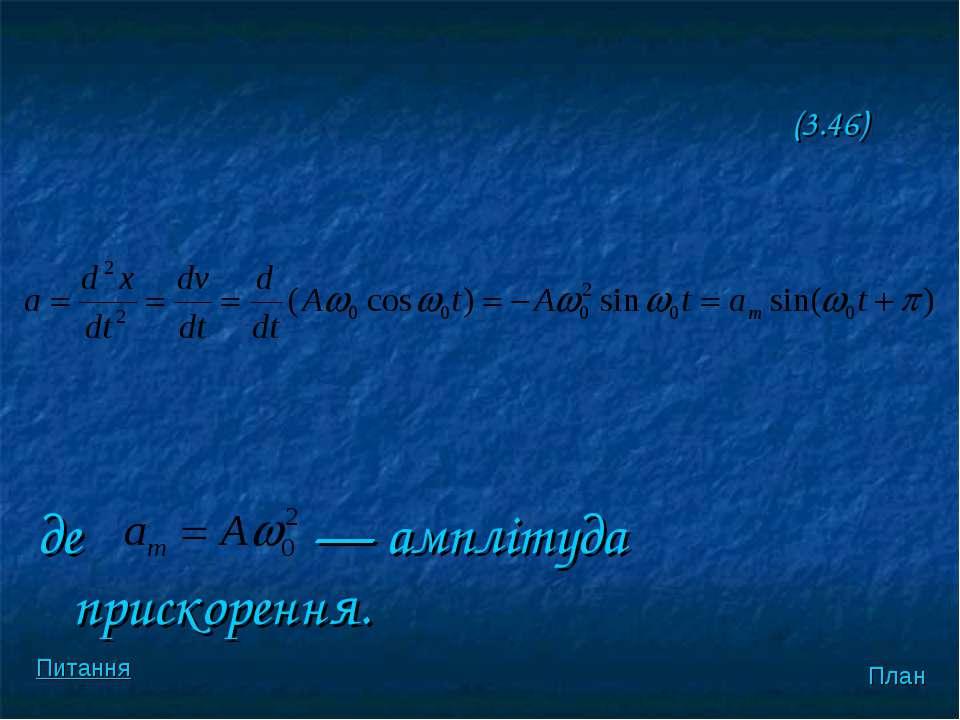 (3.46) де — амплiтуда прискорення. План Питання