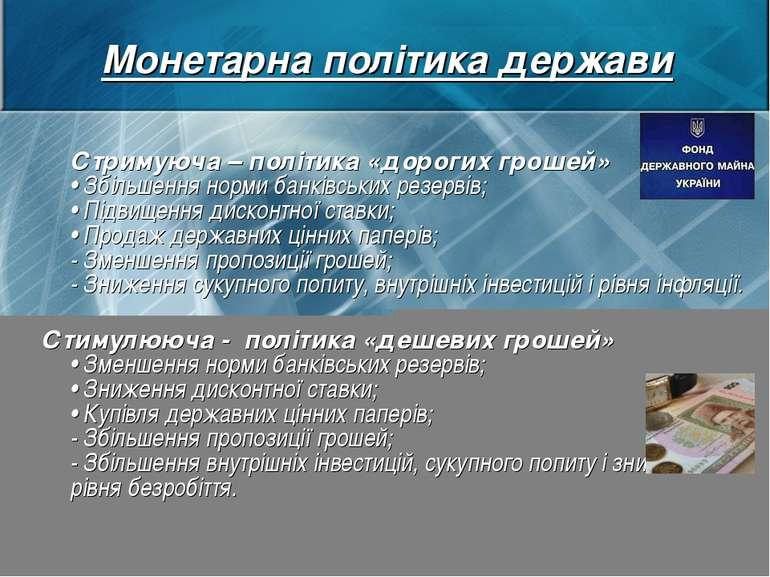 Монетарна політика держави Стримуюча – політика «дорогих грошей» • Збільшення...