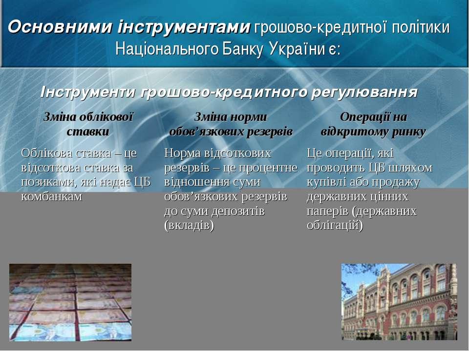 Основними інструментами грошово-кредитної політики Національного Банку Україн...