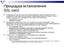 Процедура встановлення SSL-сесії У відповідності до протоколу SSL криптозахищ...