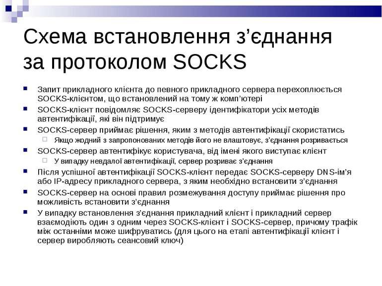 Схема встановлення з'єднання за протоколом SOCKS Запит прикладного клієнта до...