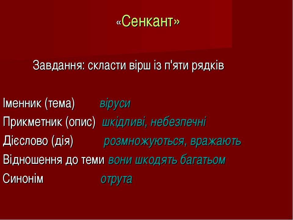 «Сенкант» Завдання: скласти вірш із п'яти рядків Іменник (тема) віруси Прикме...